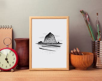 Haystack Rock Print | Adventure, Wander, Travel, Cabin Decor, Outdoors, Pacific Northwest, Printable Art, Digital Download