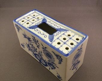 Blue and White Flower Brick Vase / Flower Frog - Andrea of Sadek