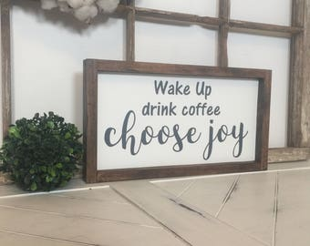 Small Coffee Sign, Coffee Sign, Small Kitchen Sign, Modern Kitchen Decor, Modern Home Hand Painted Sign,  Choose Joy Sign