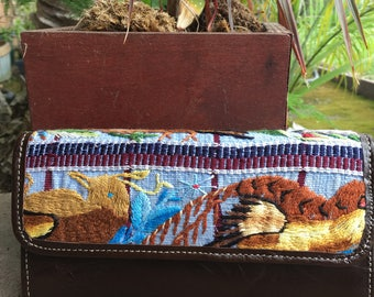 Hand woven Guatemalan huipil leather wallet