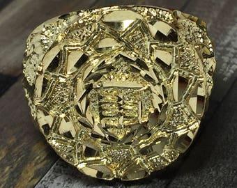 HUGE 10k solid gold Cadillac Ring - Gold Men's Nugget Rings - Men's Nugget Jewelry - Cool Men's Rings - Unique Men's Rings - Men's Jewelry