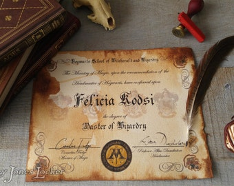 Personalized Hogwarts House certificate/diploma - Harry Potter