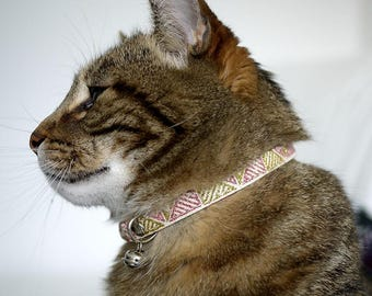 Free Shipping - Hand made polyester cat collar with chromed bell light weight 0.5oz 15g collar