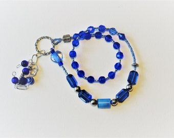 Blue crystal Baha'i Prayer Beads