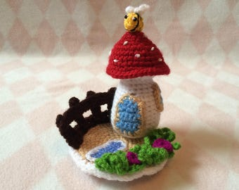 Crocheted Toadstool Fairy House w/ Garden and Bumblebee