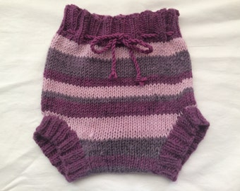 Lilac medium knitted nappy cover, girls wool diaper cover, knitted soaker, shorties, cloth nappies, bloomers, waterproof, 6-12 months