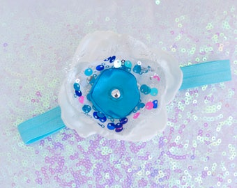 White, Blue, and Sequin Handmade Singed Flower Headband