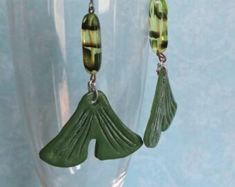 Earrings ginkgo biloba