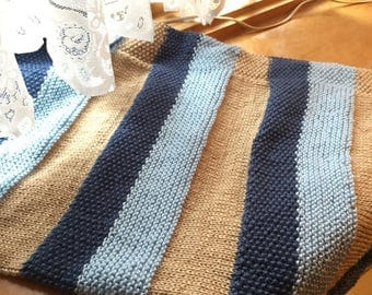Hand Knit Striped Baby Blanket