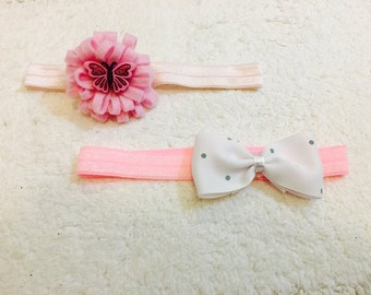 Butterfly and bow headband set