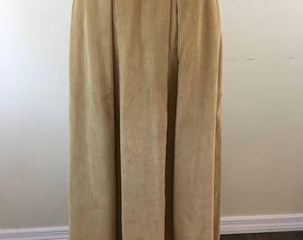 Vintage 1980s Ralph Lauren Women's Long Skirt Corduroy Size 12