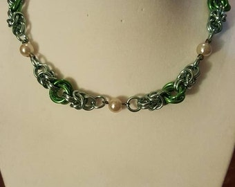 Princess Two Toned Green with Faux Pearl Bracelet