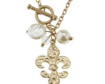 Gold Toggle Fleur De lis Necklace with Pearl accents