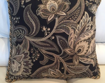 New Decorative Accent Pillow, Black, Brown, Gold