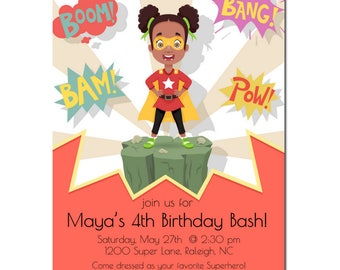 African American Birthday Party | Superhero Birthday Party | African American Super Girl | Party Invitation for girls | Kid Party theme