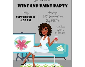 Wine and Paint Party Invitation | African American Party Invitation | Art Party |  Adult Birthday Party | Wine Party Invitation