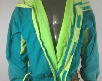 Vintage Columbia Sportswear Retro Hipster Neon Green 80s 90s SKI Snowboard Coat Size XL