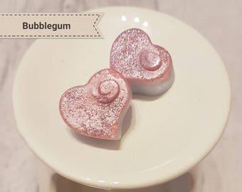 Handmade Soy Melts - Bubblegum - Soy Wax Hearts - Soy Wax Melts - Fragranced Wax Melts - Candle Melts - Glitter Wax Melts - Wax Tarts