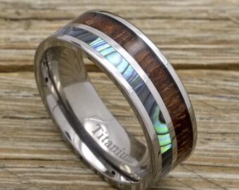 Men's Titanium Wood Ring With Hawaiian Koa Wood And Abalone Inlay 8mm Sizes 7-15