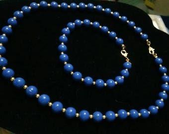 Monet blue beaded choker with matching bracelet