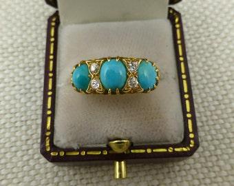 Beautiful Edwardian Turquoise & Diamond Ring - 18ct - turquoise and diamond edwardian turquoise ring diamond ring edwardian 18ct ring claws