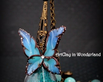 Fairy Dust Necklace blue lagoon, butterfly, fairy wings