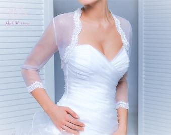 Wedding bolero organza with lace