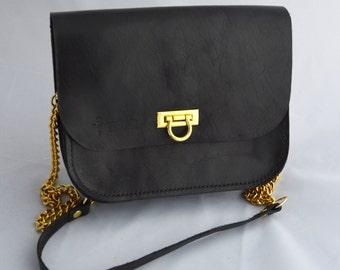 Leather handbag, Black shoulder purse, Handmade crossbody bag