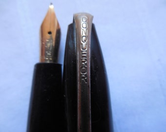 Vintage Black CONQUEROR Fountain Pen, Lever Style, Made in the USA