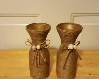 Sisal wrapped glass jars