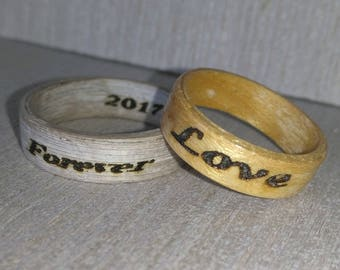 Engraved Bentwood Rings your custom request
