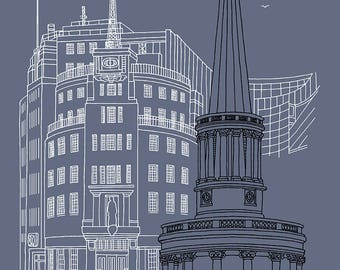 BBC Broadcasting House 2 - Signed Limited Edition Art Print