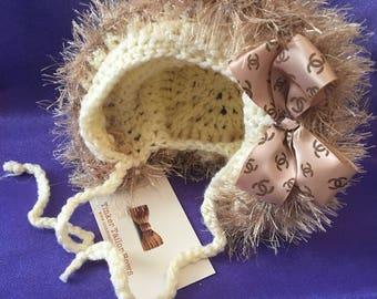 Crochet baby bonnet. Age 0-3 months, romany, bespoke, hat, cream, ribbon,
