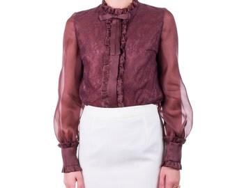 Shirt organza and lace, handmade PIECE size (it 42 - eu 38 - uk 10 - us 6) PROMOTIONAL PRICE