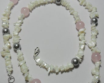 "Rose Quartz, Shell Pearl, Mother-of-Pearl necklace 31"" necklace, Handmade"