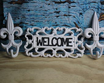 White Cast Iron Welcome Sign & 2 Flur De Lis White Wall Hooks