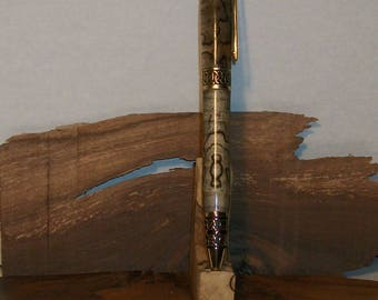 24k Gold Sculpted Pen with Spalted Hackberry and Lattice Pattern.