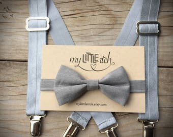 Silver Kids Suspenders, Grey Kids Bow Tie, Silver Baby Suspenders, Grey Baby Bow Tie, Baby Wedding Outfit, Ring Bearer Outfit, Photo Prop