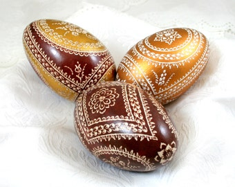 Set of 3 pieces of Easter eggs, goose eggs, pysanky, hand decorated, pysanky , unique, handmade , gift for Easter , Easter eggs ,