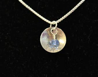 Sterling Silver Disc Pendant Necklace with Blueberry Quartz Dangle // Floral Texture Silver //