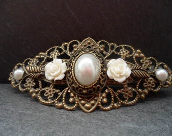 ornate Barrette, vintage style, hair jewelry, wedding, Festival, communion, gem, Cabochon, bronze