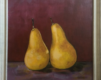 Still life fruit painting with a modern twist