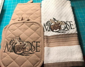 Embroidered moose towels & hotpads