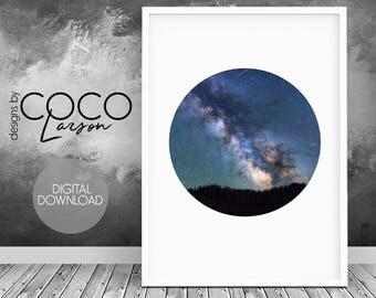 Milky way print, Galaxy print, night sky print, blue wall art, stars print, modern wall art, galaxy wall art, space art, space poster