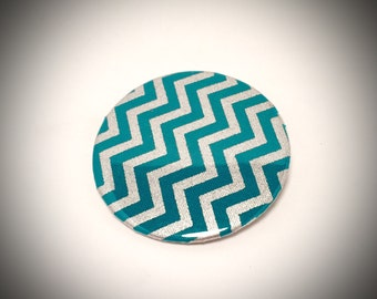Teal and Silver Chevron Badge