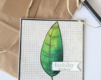 Watercolour feather handmade birthday card
