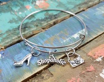 Shopaholic Bangle, Shopaholic Bracelet, Shopaholic Jewelry, Shopaholic Charm, Shopping Bracelet, Shopping Pendant, Shop Bangle