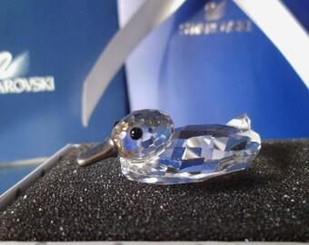 Swarovski Silver Crystal ~ Swimming Mallard/Duck ~ Vintage Duck- Crystal Duck-010032