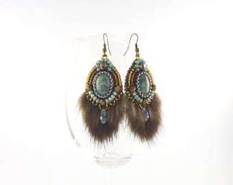 Bead embroidery earrings with Jasper cabochon, Mink Fur & Tiger's-eye beads