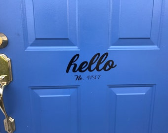 hello door decoration with address